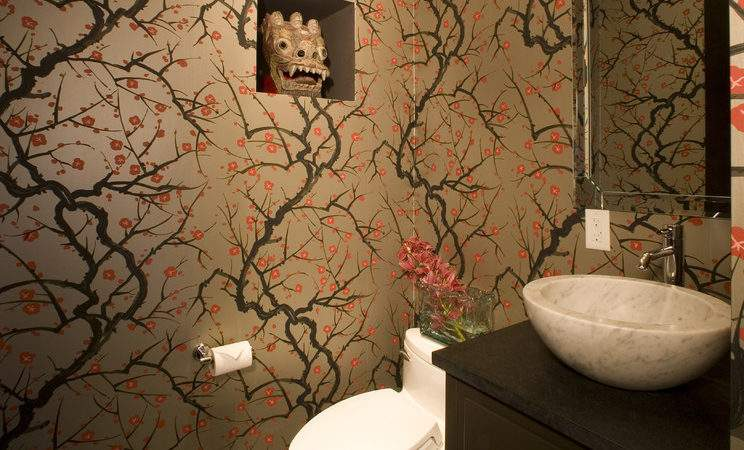Cherry Blossom Bedroom Bathroom Eclectic