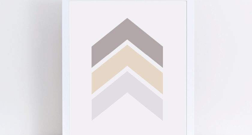 Chevron Art Taupe Wall Decor Neutral Modern Prints Ombre