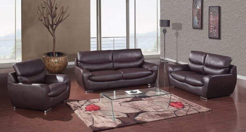 Chocolate Bonded Leather Contemporary Living Room Set