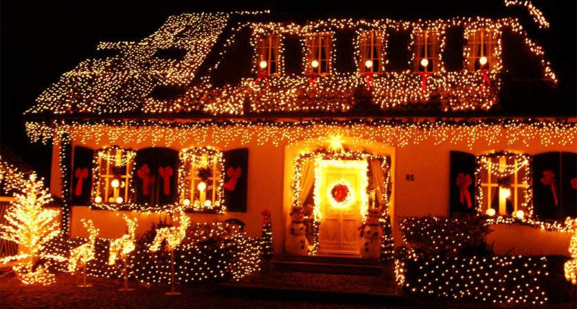Christmas Decorated Houses Architecture