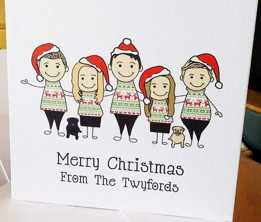 Christmas Jumper Caricature Personalised Cards
