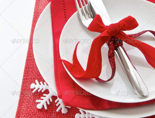 Christmas Table Place Setting Red White