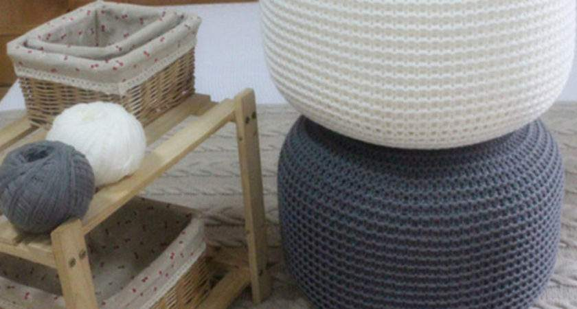 Chunky Knit Knitted Pouffe Foot Stool Cushion