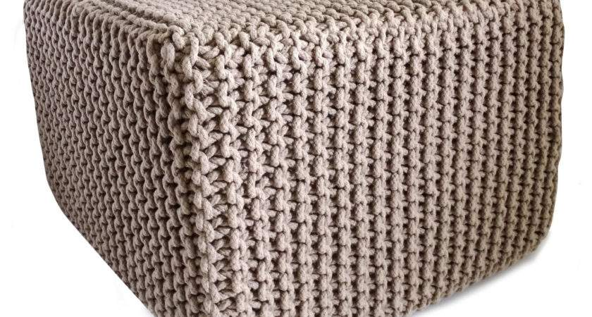 Chunky Knit Square Pouffe Latte Achica