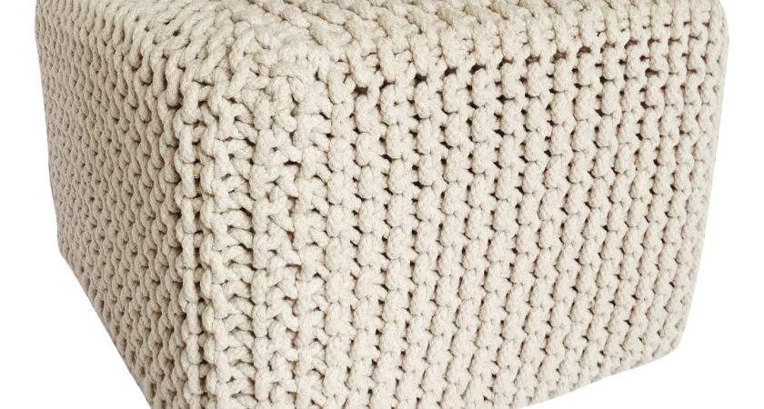 Chunky Knit Square Pouffe Natural Achica