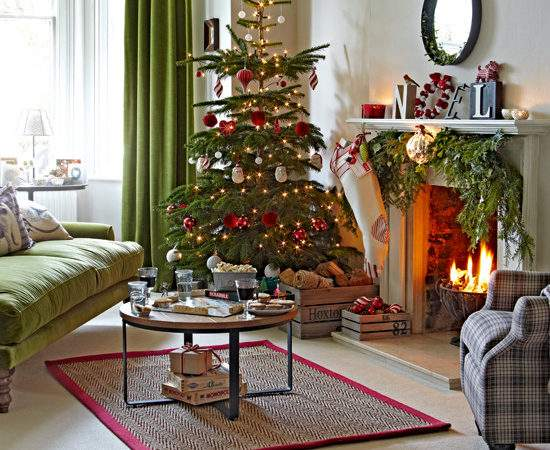 Classic Green Red Living Room Tree Ideal Home