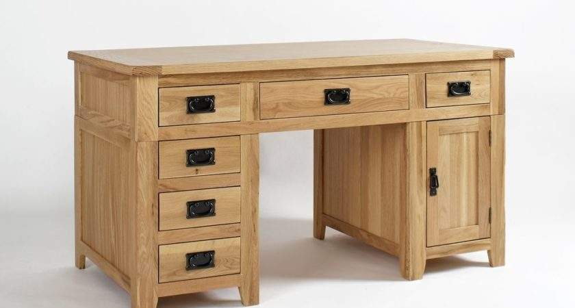Classic Oak Large Desk Rustic Solid Wood Home Office