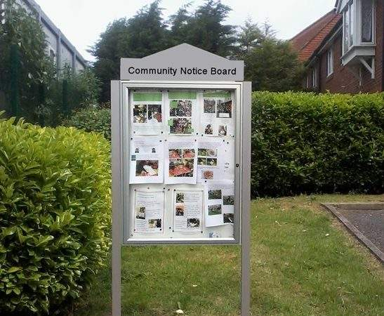 Classic Post Mounted External Notice Board Header