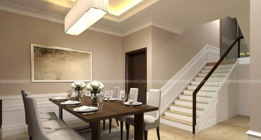 Classic Style Interior Design Living Room Stair Area