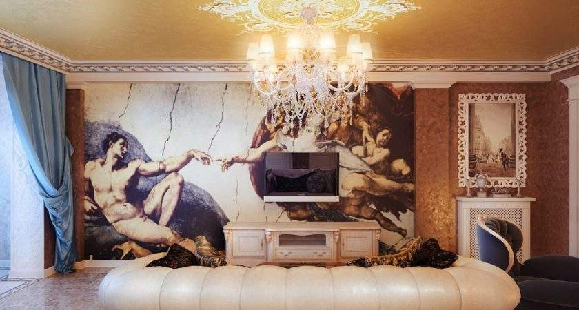 Classical Style Living Room Wall Mural Interior Design
