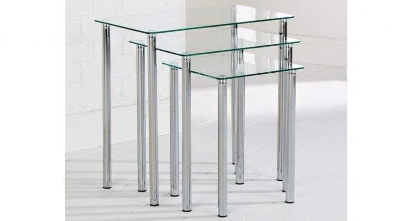 Clear Glass Odyssey Set Nest Side Tables Living