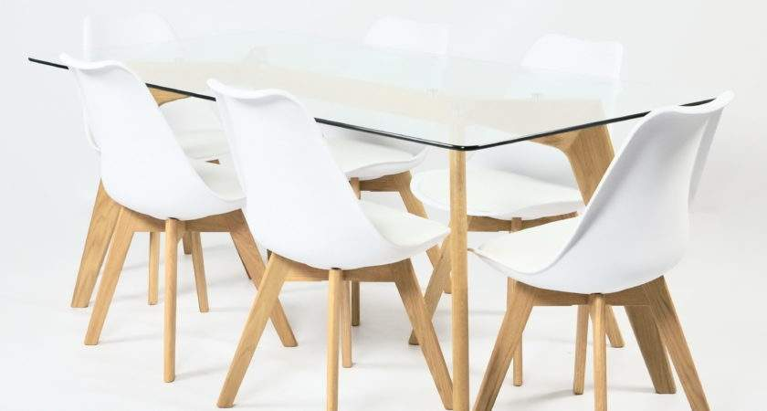 Clear Glass Table White Chair Set Solid Oak Legs