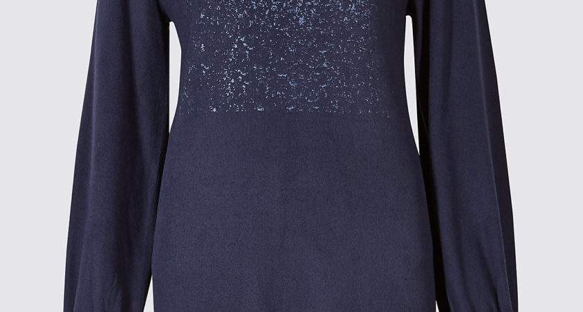 Collection Brushed Foil Print Slash Neck Tunic Navy