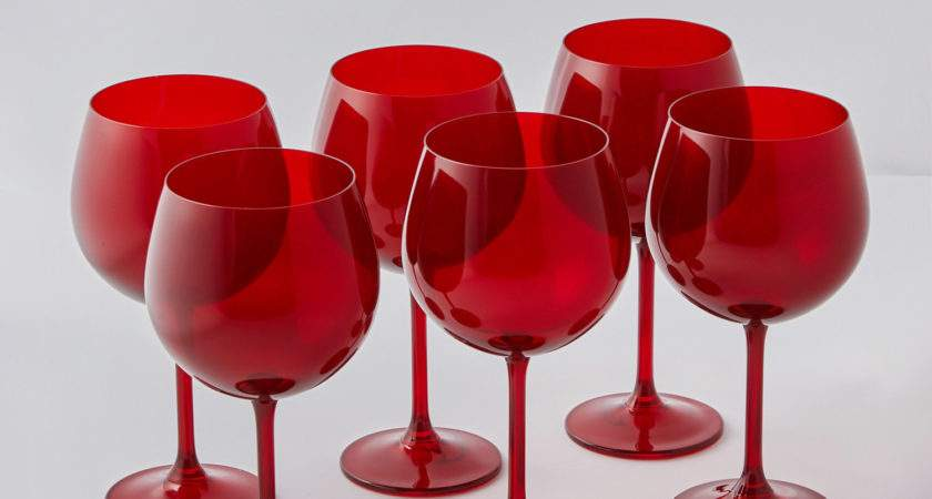 Colored Red Bohemian Wine Glasses Set
