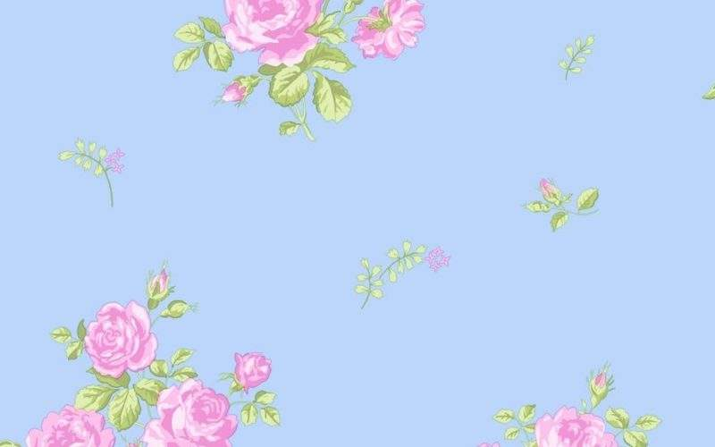 Coloroll Pippa Floral Designer Feature Sky Blue
