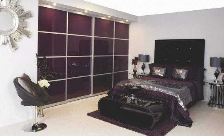 Contemporary Aubergine Gloss Sliding Wardrobe Doors