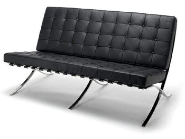 Contemporary Barcelona Style Black Leather Seater Sofa