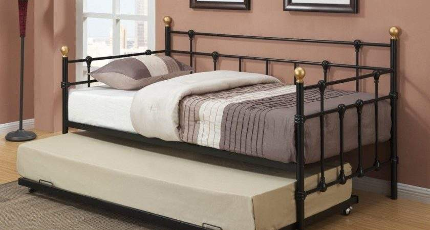 Contemporary Black Metal Twin Daybed Day Bed Optional
