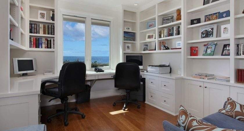 Contemporary Home Office Crown Molding Built