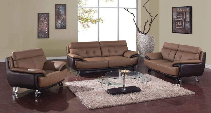 Contemporary Tan Brown Bonded Leather Living Room Set