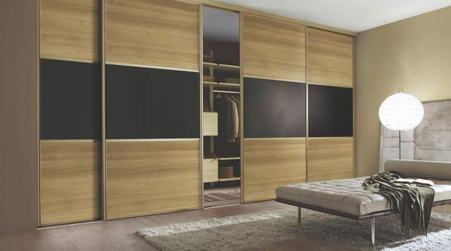Contemporary Walnut Black Sliding Wardrobe Doors