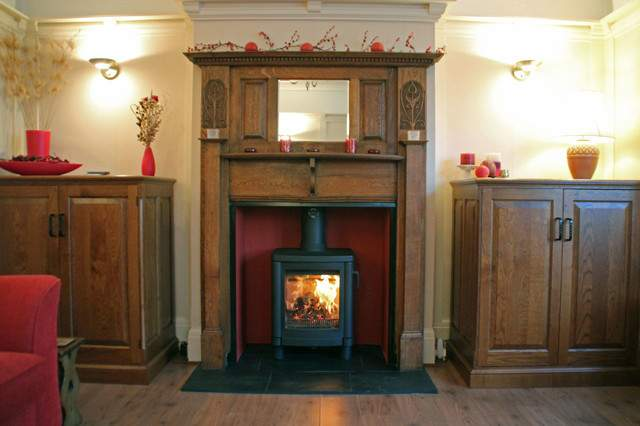Contura Wood Burning Stove Reclaimed Oak Mantel