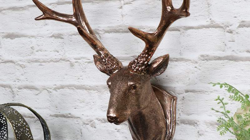 Copper Wall Mounted Stag Head Decoration Melody Maison