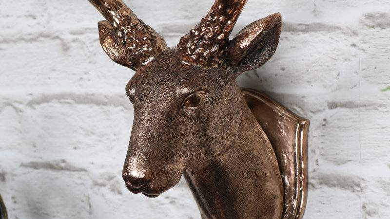 Copper Wall Mounted Stag Head Decoration Windsor Browne
