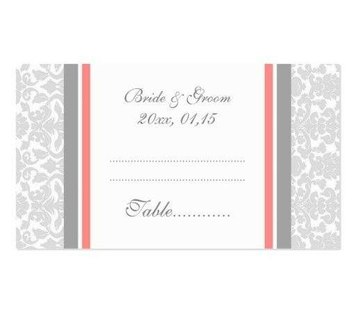 Coral Damask Wedding Table Place Setting Cards Double