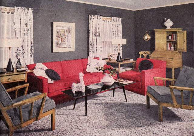 Coral Gray Living Room Vintage Interiors