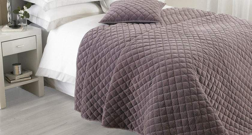 Cotton Velvet Bedspread Luxury Quilted Bed Spread Throw