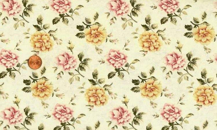 Country Cottage Roses Butter Yellow Fabric Ebay