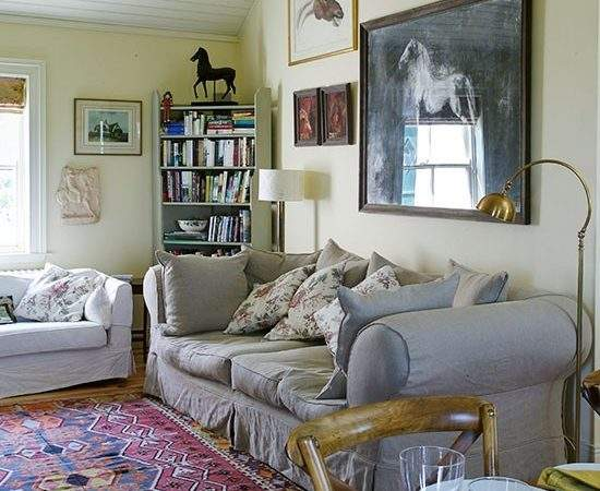 Country Living Room Equestrian Theme Decorating