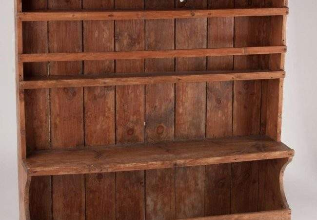 Country Pine Pewter Wall Shelf Lot