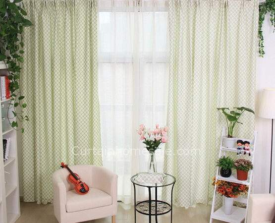 Country Style Door Wall Curtains Light Green Color