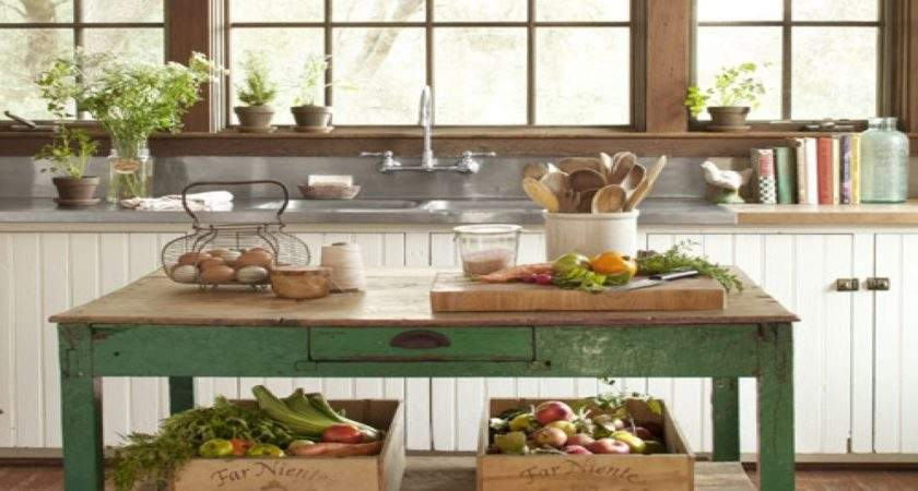 Country Vintage Style Living Kitchen Islands