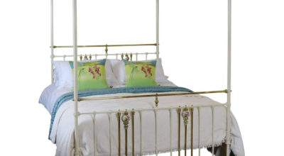 Cream Metal Four Poster Bed