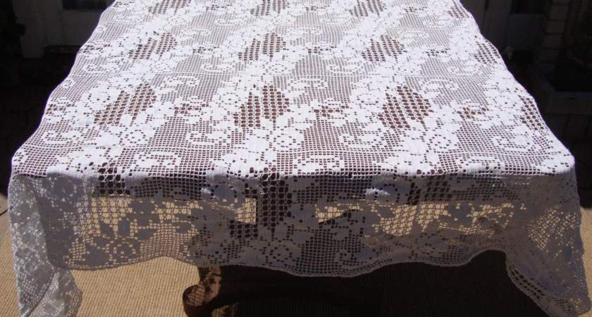 Crochet Tablecloth Irish Scrolling Roses