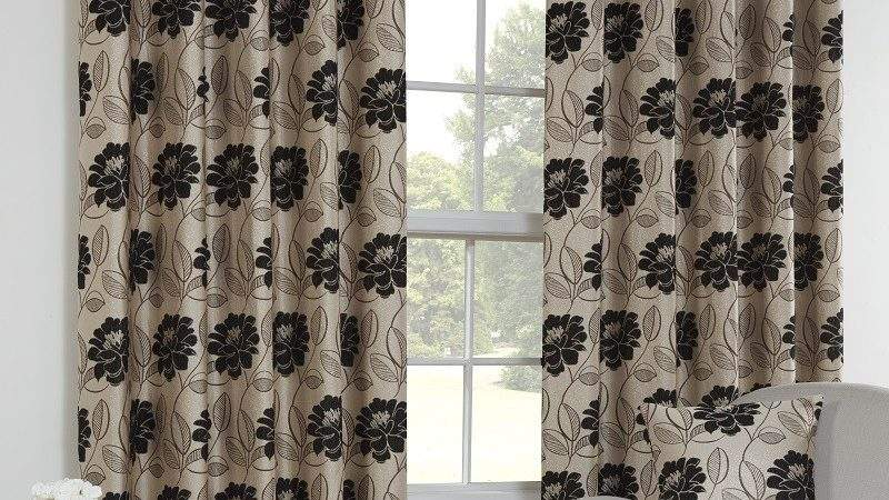 Curtains Pole Accessories Tara Black Floral Lined