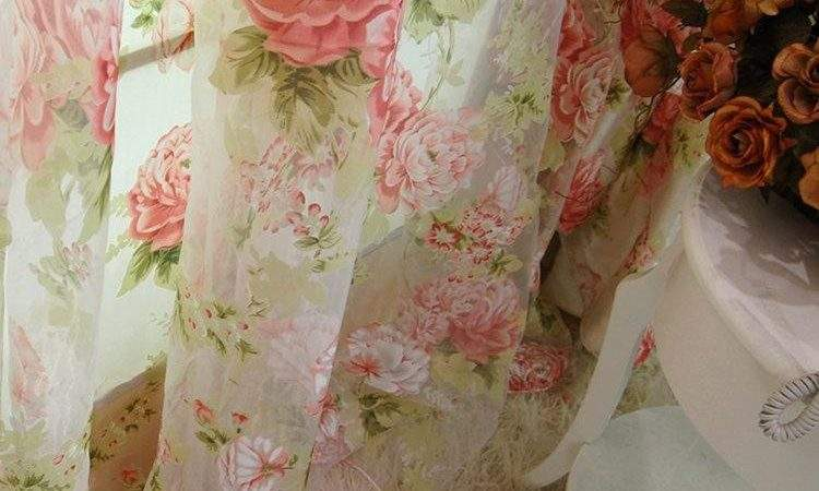 Custom Made French Country Cottage Rose Floral Sheer