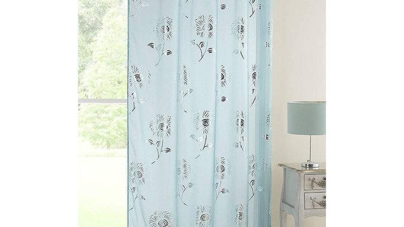 Daisy Floral Metallic Voile Curtain Duck