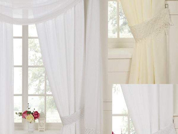 Daisy Rose Lined Voile Curtains Pencil Pleat