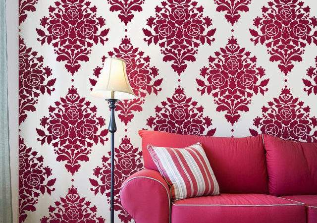 Damask Rose Stencil Eclectic Wall Stencils Janna