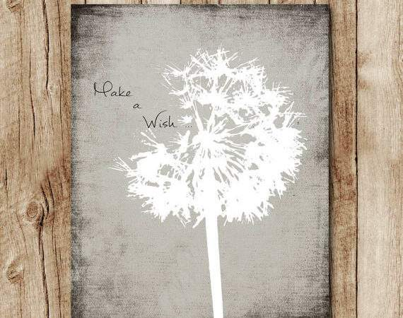 Dandelion Print Neutral Colors Grey Wall Decor Make Wish