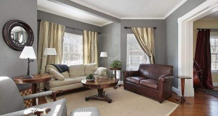 Dark Brown Gray Living Room Interior