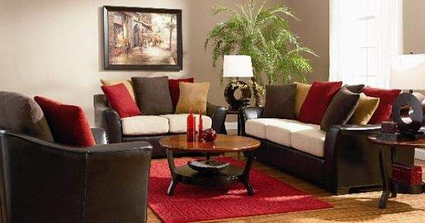 Dark Brown Red Living Room Colorful Pillowsjpg