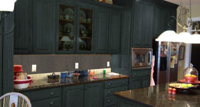 Dark Gray Color Painting Old Oak Kitchen Cabinets