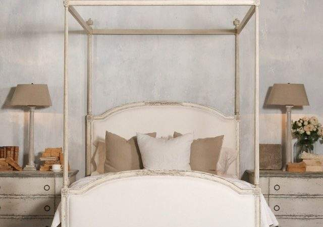 Dauphine Canopy Four Poster Bed Weathered White