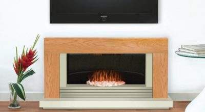 Daytona Contemporary Oak Ivory Electric Fire Suite