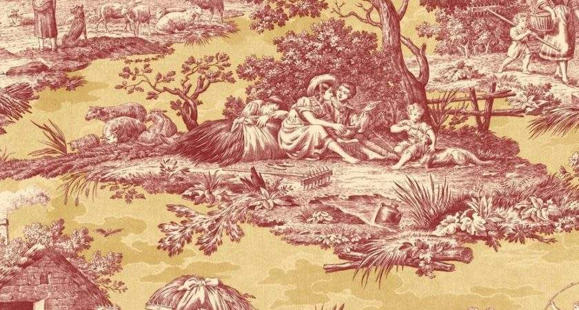 Designer French Country Life Toile Rust Red